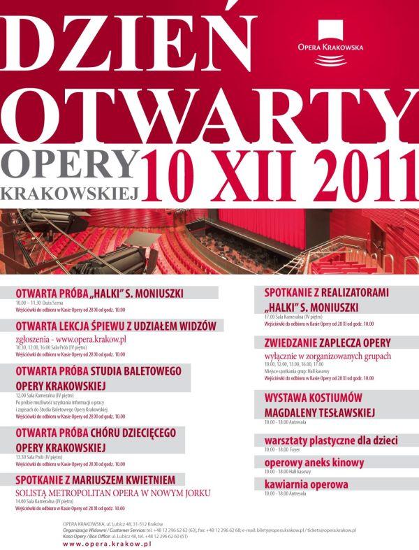 Dzień Otwarty Opery Krakowskiej 10 XII 2011
