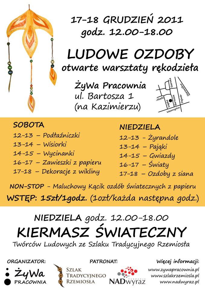 Warsztaty Ludowych Ozdób i Kiermasz Świąteczny w Krakowie